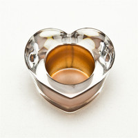 Electroplated hand made heart shape glass candle holder color copper candle holder/rose gold candle holder