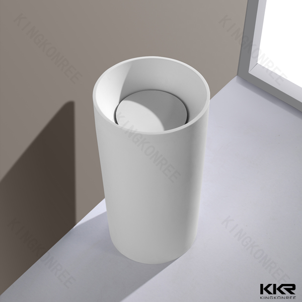 Solid Surface Marble Pedestal Sink Free Standing Sink