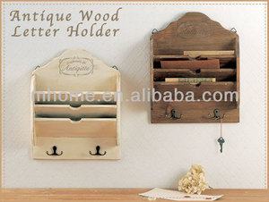 Rustic wood postcard wall shelf for deco