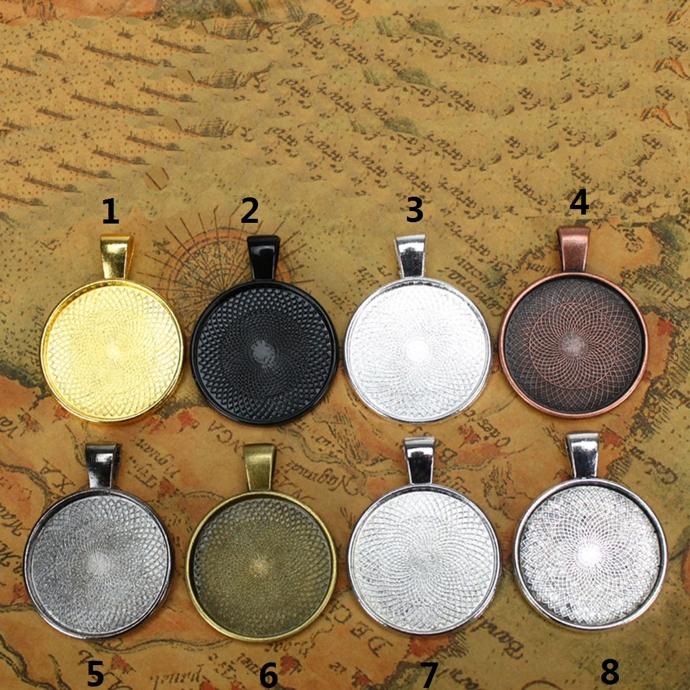 2015ccc27f 10pcs Multi Colors 25mm Necklace Pendant Setting Cabochon Cameo Base Tray  Bezel Blank Fit 25mm Cabochons Jewelry Making Findings