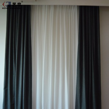 Simple Design Blackout Fabric Curtains Modern Living Room Curtain Solid Color Drape Window From China