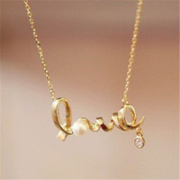 Colar Everyday Wear Fashion Jewelry Minimalist Clavicle Women Necklace LOVE Letters Simulated Pearls Crystal Pendant necklace