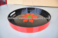 Vietnamese Lacquerware- flower inside round tray for home