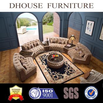 Middle East Dubai Livingroom Furniture Classic Chesterfield Fabric Half  Round Corner Sectional Sofa Set AL034 Part 68