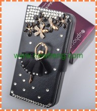 Handmake Diamond Ballet Girl leather case for Iphone 5/5s