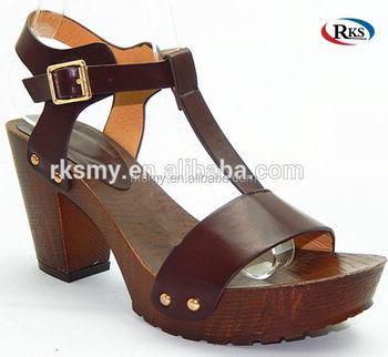 2018 Wooden High 8nmn0w Wedge Heel Lady Platfoam Wood Women Sandals 8X0OPnkw