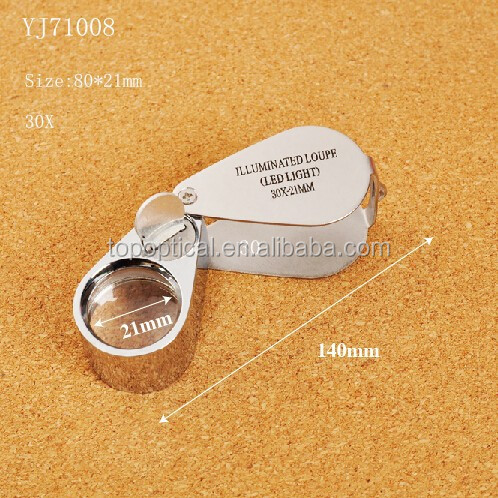 Magnifying glass 30 x 21mm with led jewelers eye loupe