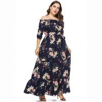 7xl Plus Size Clothing Women long Chiffon Floral Print Dresses