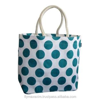 Blue Polka Dot Printed Jute Bag Beach Customized Fine Quality
