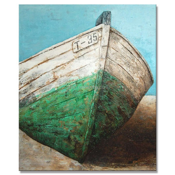 Pop Fine Art Painting, Abstract Ship Oil Painting