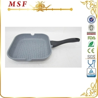 MSF marble coating interior silicon painting handle die cast iron fry pan with removable handle