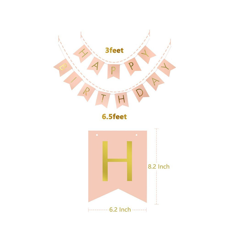 Pink and Gold Birthday Party Decorations Confetti Balloons Birthday Banner Tassels Hanging Swirl