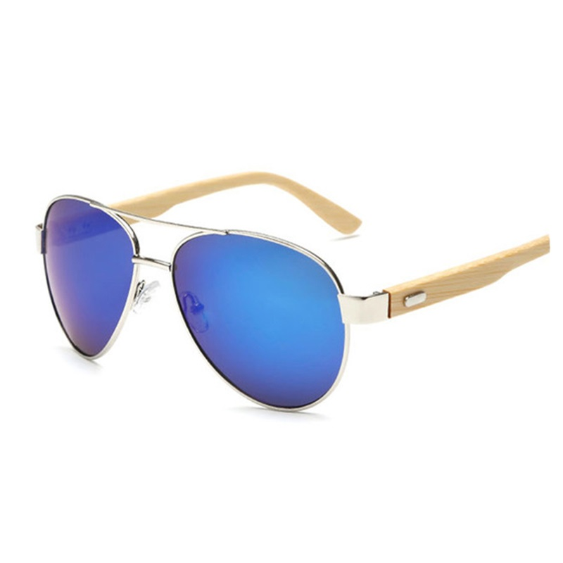 Bamboo pilot Sunglasses Men Wooden metal Women Aviator Brand Designer Mirror Original Sun Glasses drive