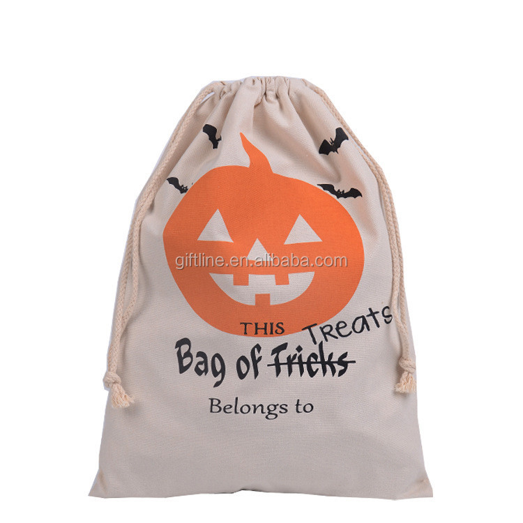 Newest unique creamy-white cinch cotton draw string bag for Halloween