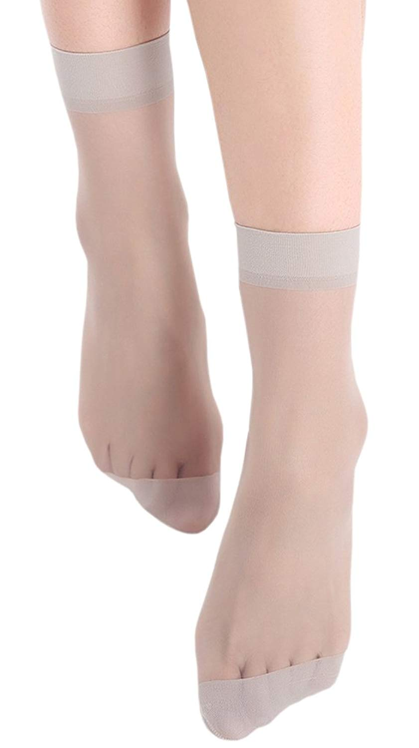 e090d81f2 Get Quotations · X&F Womens' Silky 15D Sheer Nylon Ankle High Tights  Hosiery Socks(Pack of 5