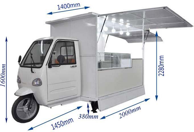 中国工場カスタムデザイン 3 輪電気食品三輪車カート販売のため
