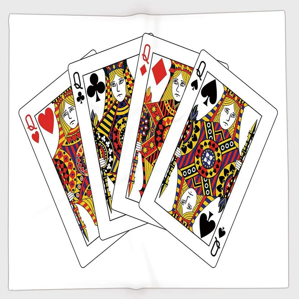 Cotton Microfiber Hand Towel,Queen,Queens Poker Set Faces Hearts and Spades Gambling Theme Symbols Playing Cards,Black Red Yellow,for Kids, Teens, and Adults,One Side Printing