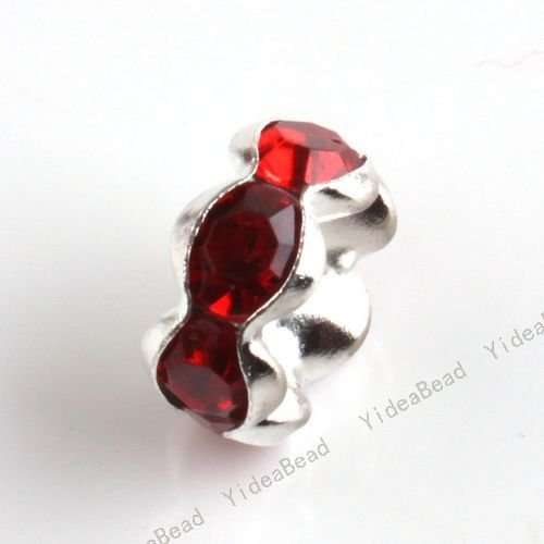 200pcs Hot Red Acrylic Spacer Charms Beads Plated Silver Yakeli DIY Interval Bead FIT Bracelets 110604