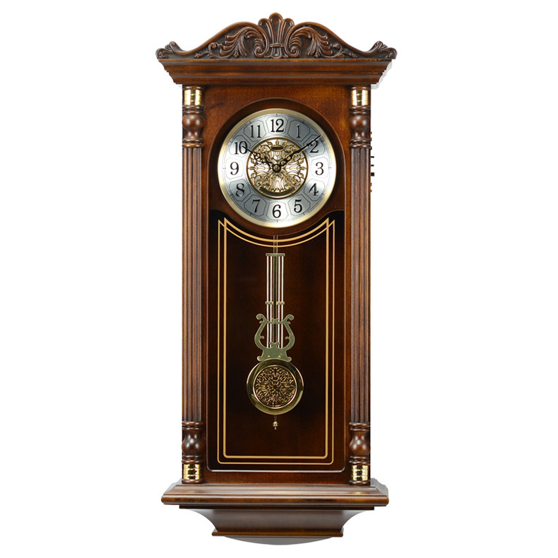 New Western ancient wall clock chime classical European music and creative living room wall clock mute quartz watch