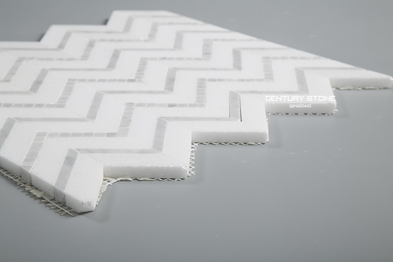 Polished Thassos White And Carrara Chevron Marble Mosaic