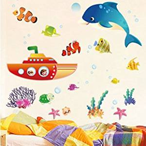 Let'S Diy Cartoon Submarine Whale Third Generation Removable Wall Stickers Bathroom Kids Room Nursery Decor Mural Decal Wallpaper