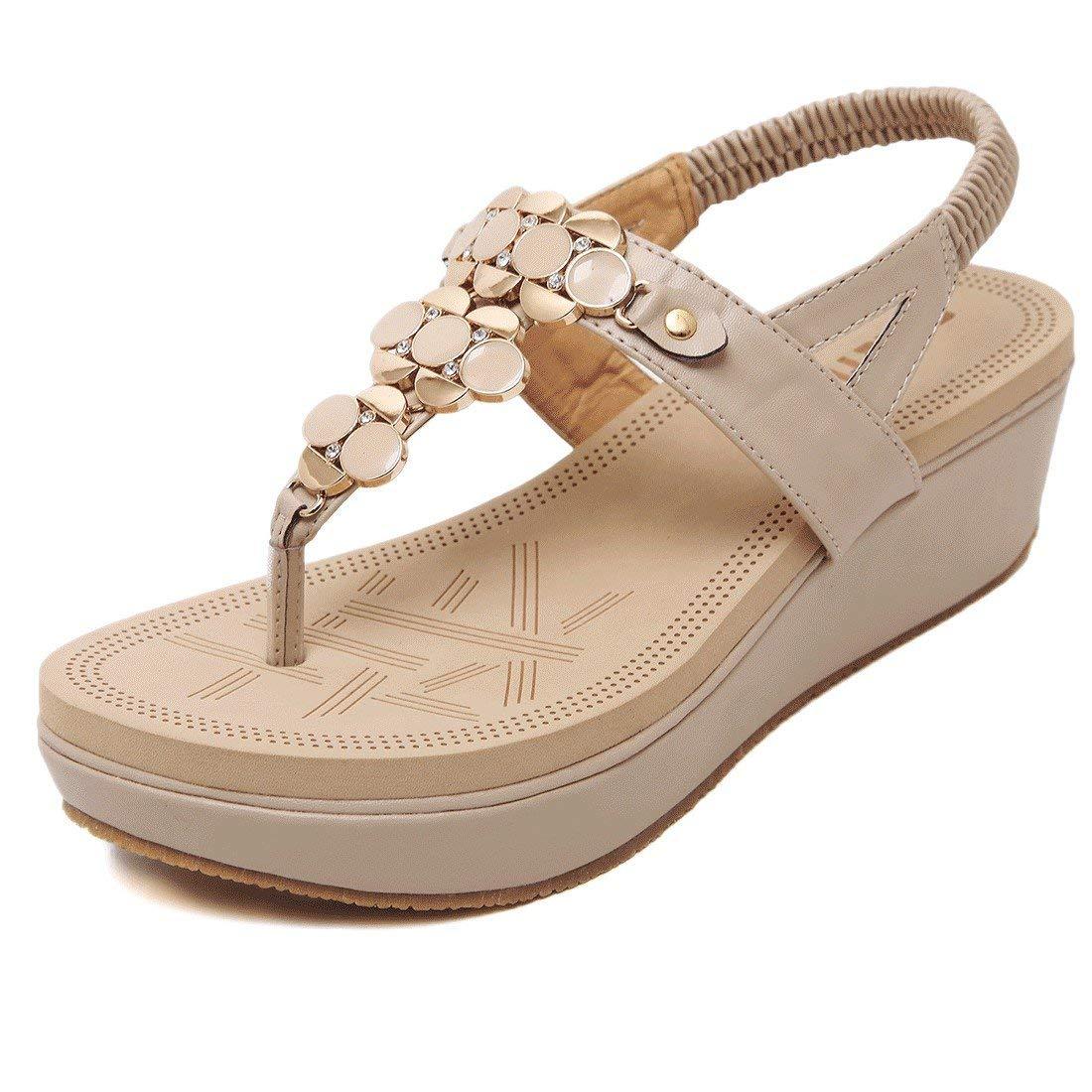 YIBLBOX Womens T-Strap Rhinestone Summer Platform Wedge Sandals Casual Beach Slip on Shoes Flip Flops