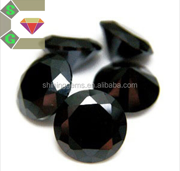 15mm facet round black saturated color big size cubic zirconia / cz stone beads