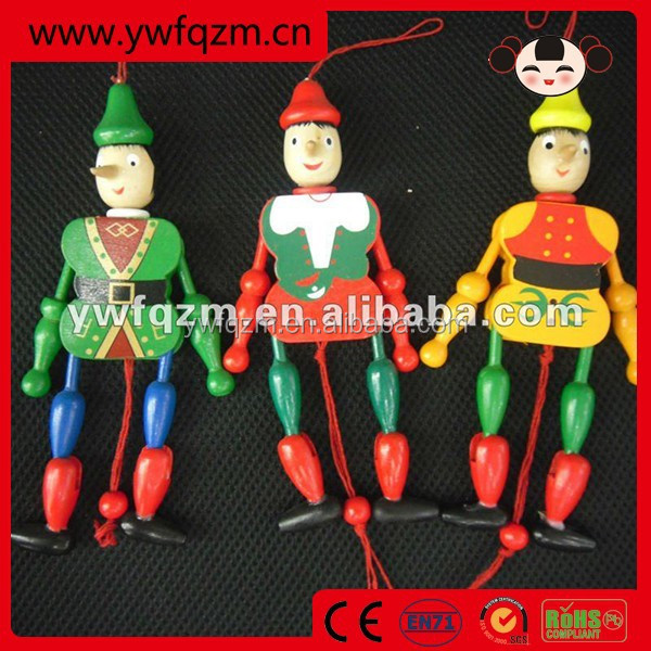 custom wooden pull string doll with clown design