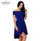 Off the shoulder evening and party wear skater dress royal blue dress