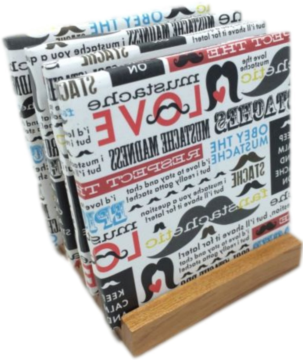 """Custom & Cool {4.25"""" Inches} Set Pack of 4 Square """"Flat & Smooth Texture"""" Large Drink Cup Coaster Made of Ceramic w/ Cork Bottom & Mustache Love Text Collage Design [Colorful Red, Blue, White & Black]"""