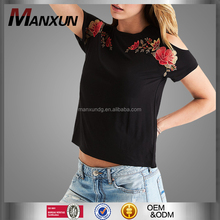 2017 Latest Design Ladies Short Sleeve Blouses Sexy Cold Shoulder Top For Women Pretty Embroidered T Shirt