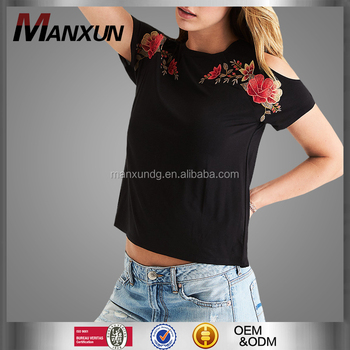 a4312e480616f1 2017 Latest Design Ladies Short Sleeve Blouses Sexy Cold Shoulder Top For  Women Pretty Embroidered T