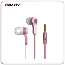 Latest fashion metallic flat cable earphones Price competitive earphone for MP3/MP4