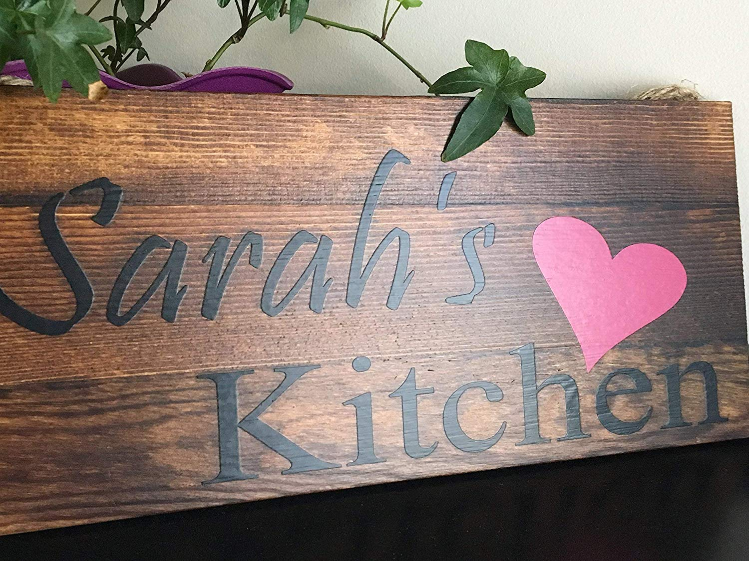 CUSTOM HANDCRAFTED KITCHEN SIGNS WITH JUTE ROPE 12x5 PERSONALIZED RUSTIC COUNTRY KITCHEN SIGNS, UNIQUE GIFT, HOUSEWARMING GIFT, BIRTHDAY GIFT, CHRISTMAS GIFT, WEDDING GIFT, by Heartland Country Decor