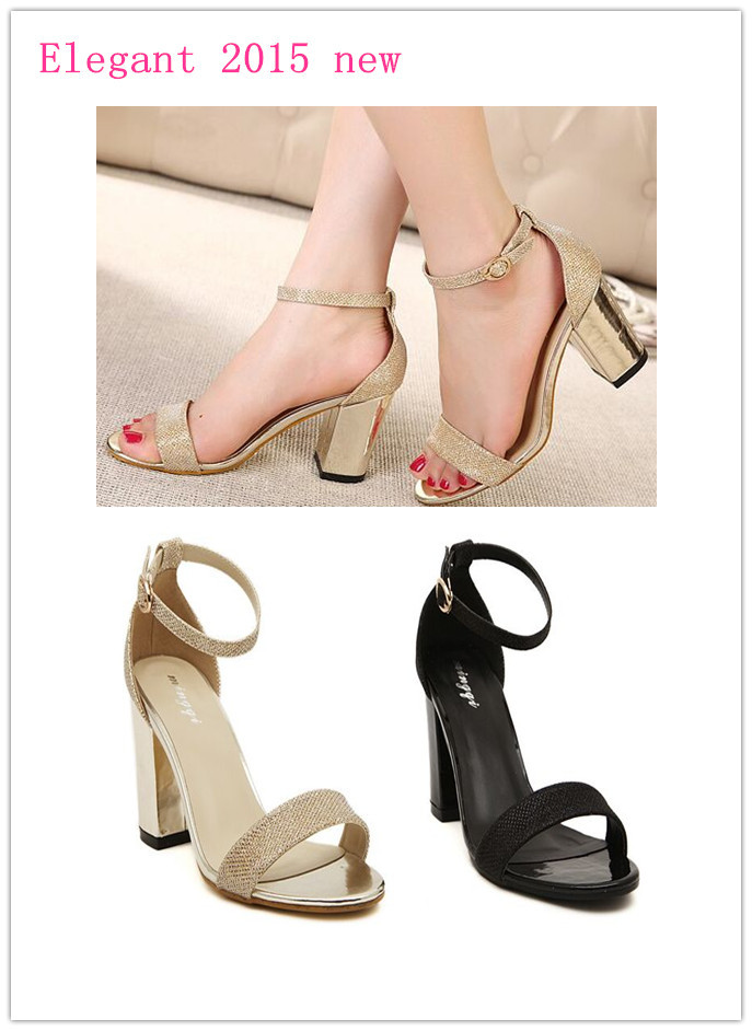 c37e591fce68 Get Quotations · Elegant solid ankle strap women sandal 2015 summer square  sandals high heels bling party shoes size