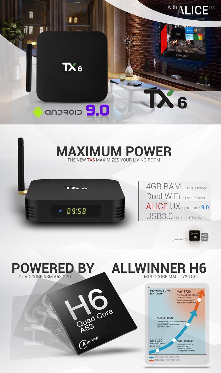 TANIX TX6 H6 4G 32G allwinner firmware android 9 0 tv tuner
