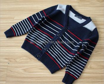 780b67bb6 V-neck botão up bebê casaquinho de lã com decote em v listrado bebê menino