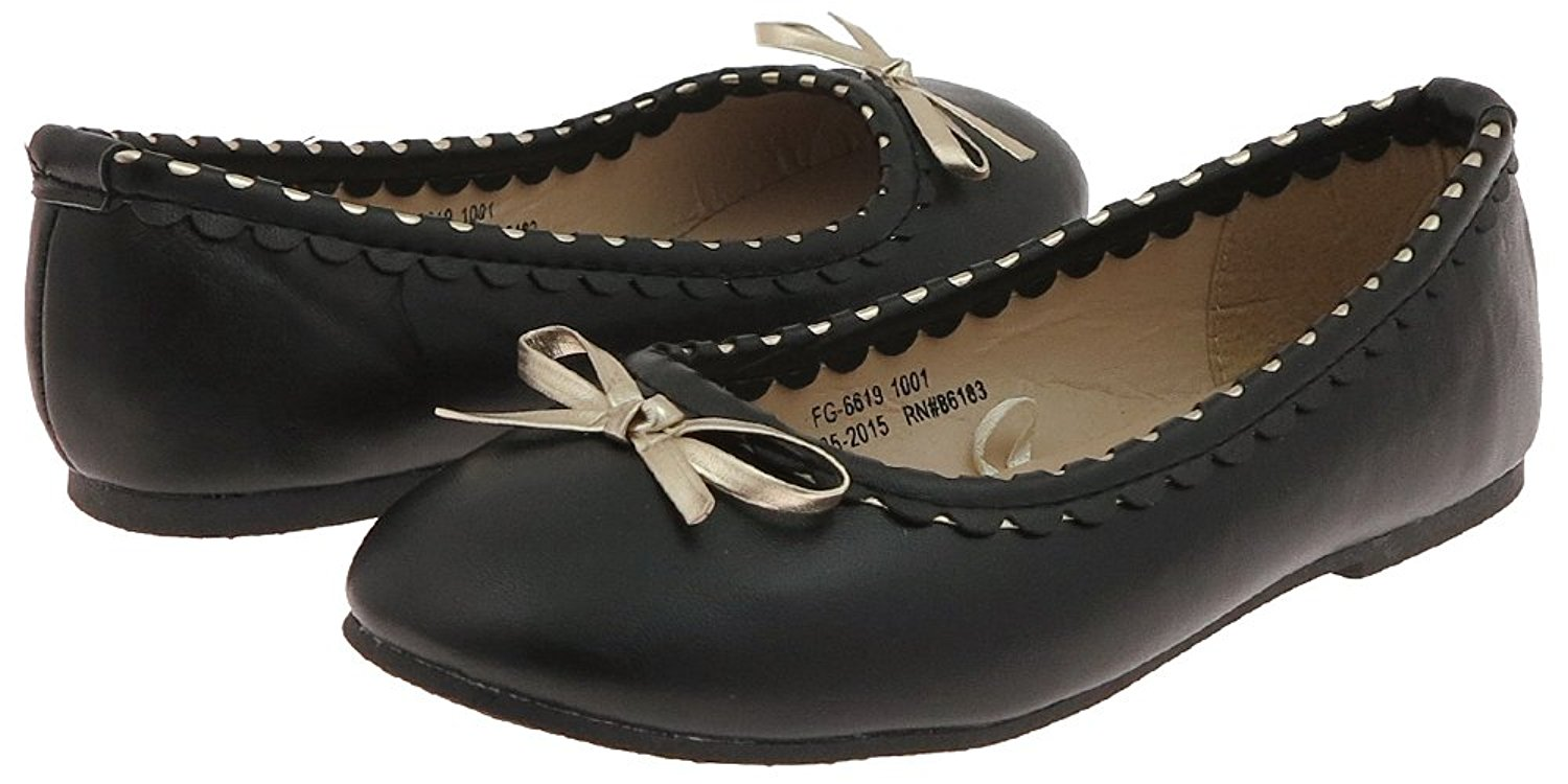 Capelli New York Girls Faux Leather Flat with Scalloped Detail and Metallic Bow