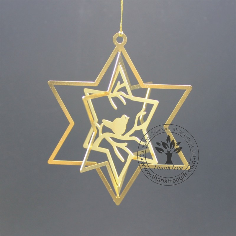 metal craft 3d metal Christmas ornament with bird on the branch