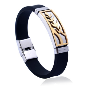 Personalized customized metal silicone bracelet buckle stainless steel silicone wristband mens bangle jewelry GJB046