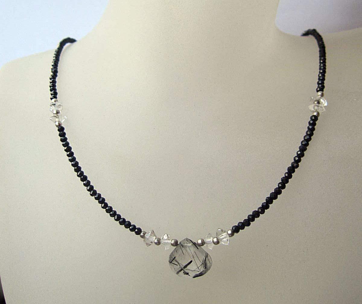 Black Rutilated Quartz,Herkimer Diamond,Black Spinel Necklace,925 sterling silver 1 inch extender - Custom Size 15,16,17,18, 20