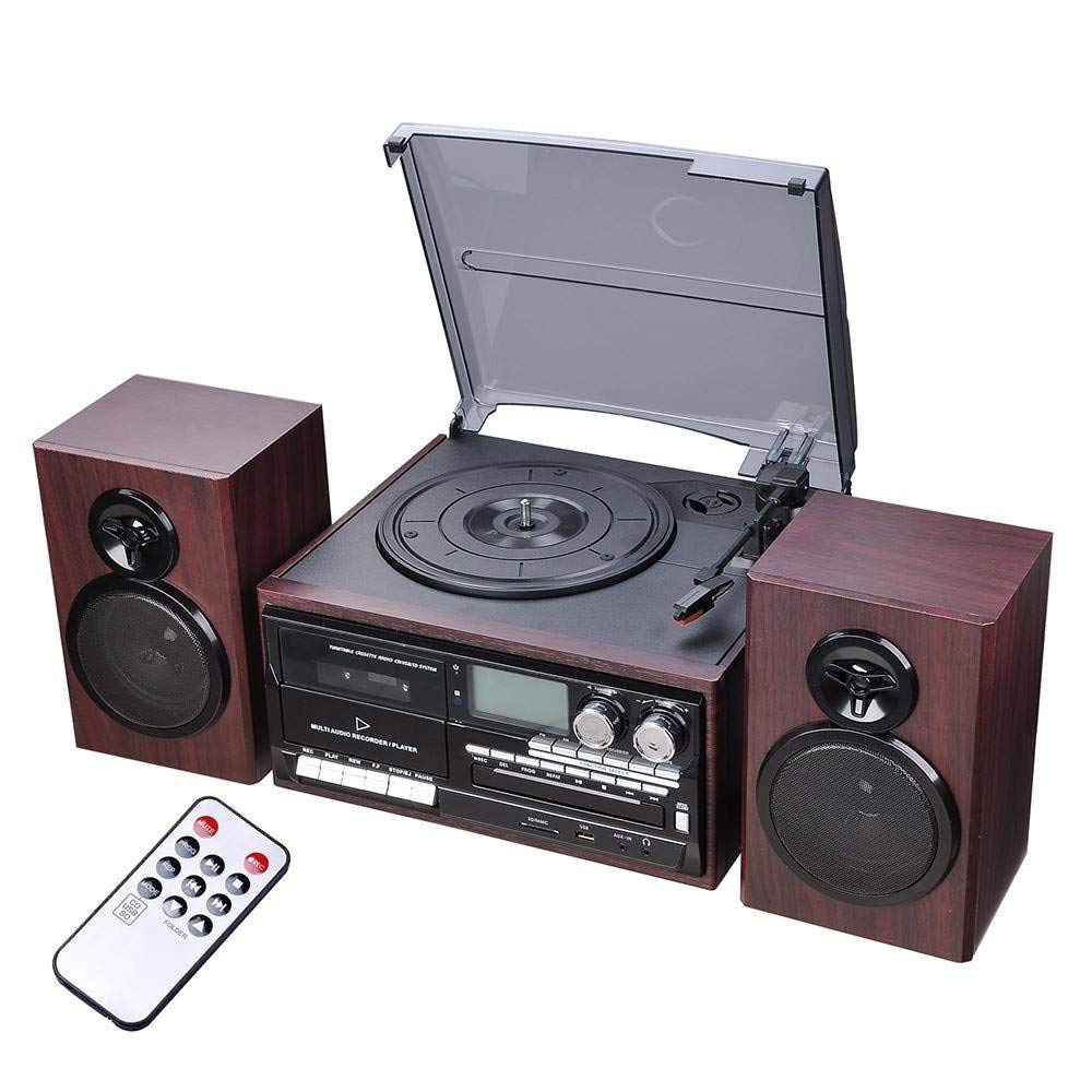 "AMPERSAND SHOPS Old School 7"" 10"" 12"" Vinyl Record Cassette Player Turntable with Speakers Bluetooth and AM/FM Radio USB Port Remote Control LCD Display"