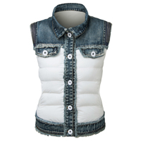 Hottest Sale Fashion Woman Jeans Vest Jacket Sleeveless Denim Jacket