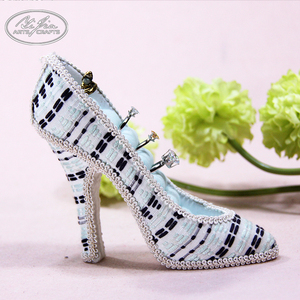 Customized fashion fabric covered high heel shoe shaped jewelry holder shoe ring holder