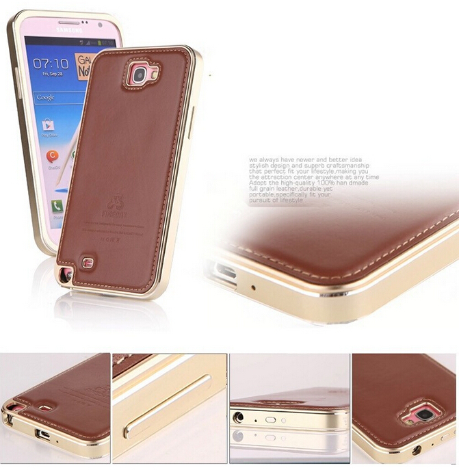 meet cc23d 915d0 Original FINEDAY Genuine Real Leather Back Skin Cover Aluminum Frame Metal  Case for Samsung Galaxy Note 2 N7100 Free Shipping
