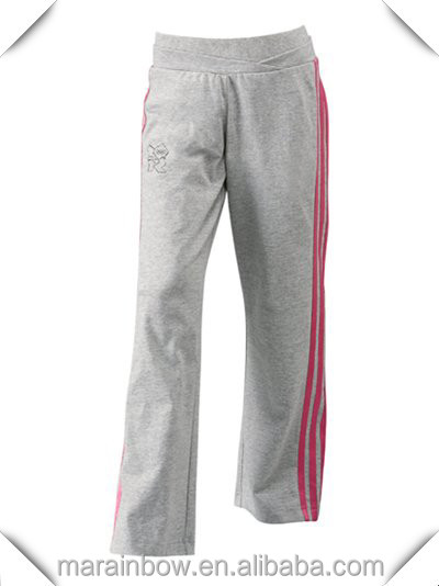 High Quality Men's Cotton Lined Grey Sports Pants with Red Sides ,Cotton Fleece Jersey Pants