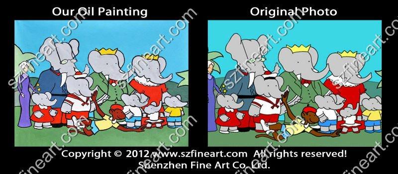 Design nuovo cartone animato a mano dipinti ad olio