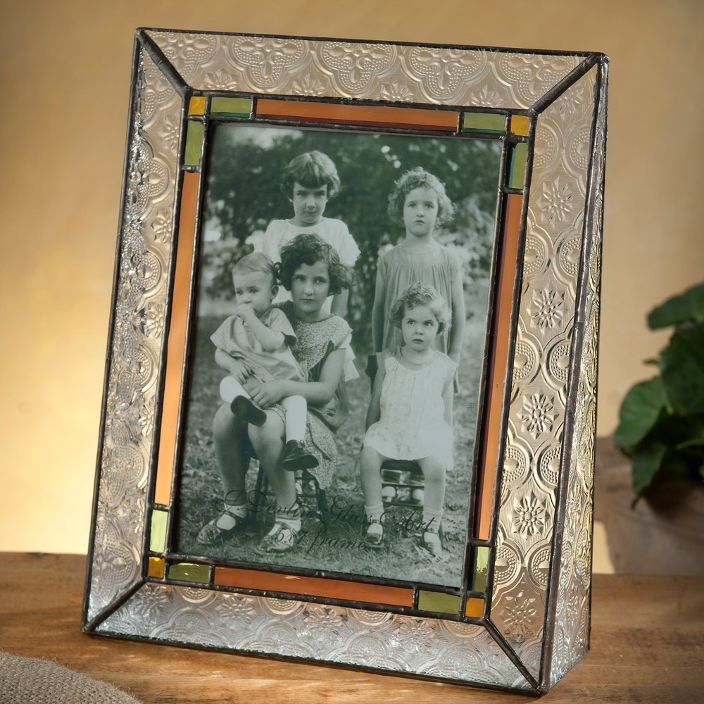 J Devlin Pic 137-57V Vintage Stained Glass Picture Frame Tabletop 5x7 Vertical Photo Frame Multi Colored in Pale Purple Green Amber Family Picture Frame