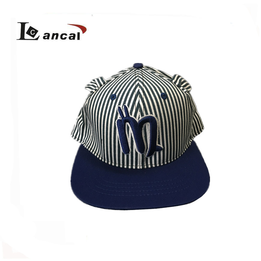 "2017 boy's blue stripe ""M"" embroidery hip hop 6-panel snapback cap"