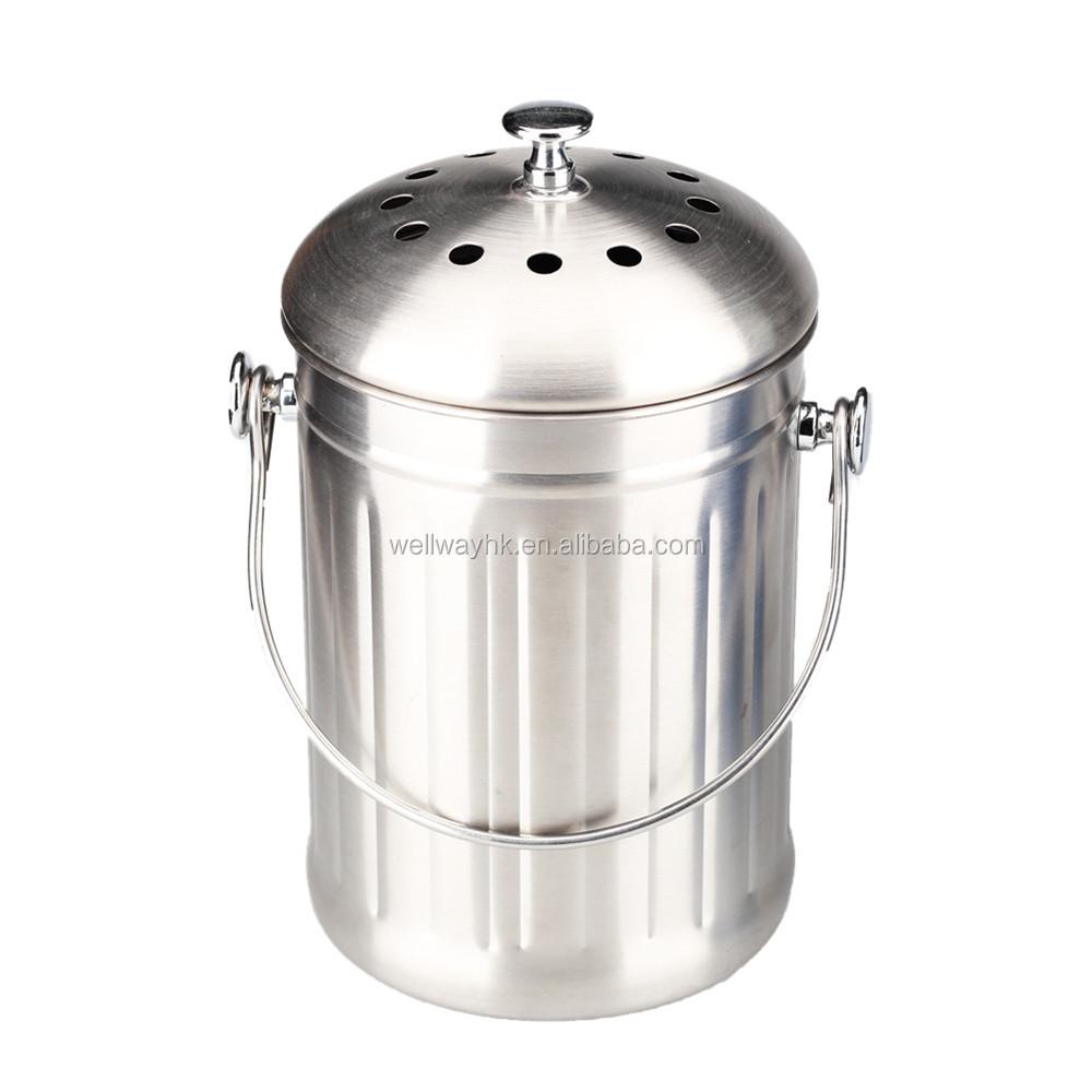 1,0 gallonen edelstahl küche kompost eimer mit filter-mülleimer